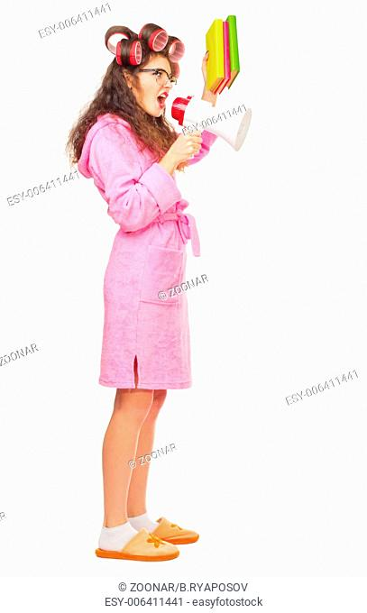 Funny housewife with books and megaphone isolated
