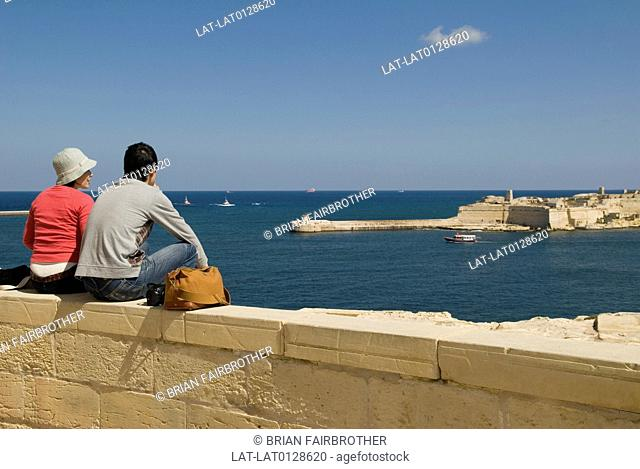 The view overlooking the entrance to the Grand Harbour in Valletta is popular with tourists