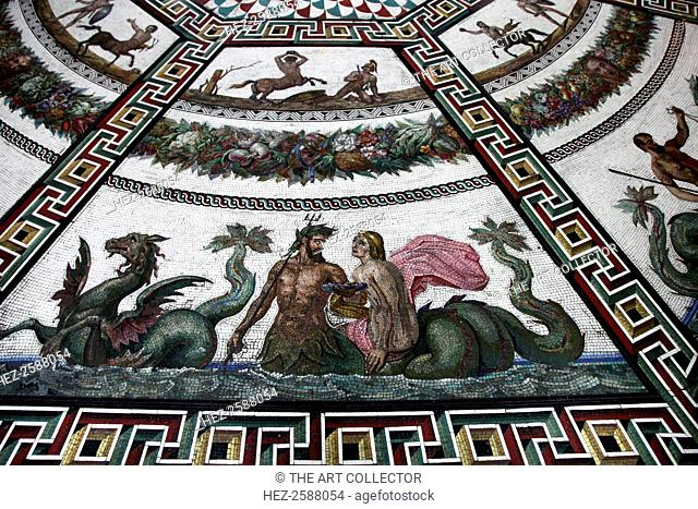 Floor mosaic in the Pavilion Hall, State Hermitage Museum, St Petersburg, Russia, 1847-1851. The mosaics are a copy of the ones unearthed in 1780 in the ancient...