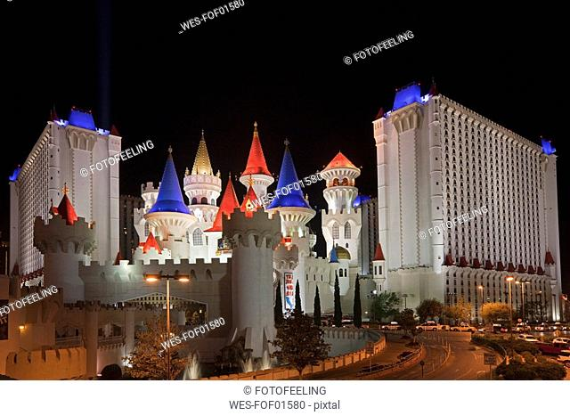 USA, Las Vegas, Excalibur hotel and casino at night