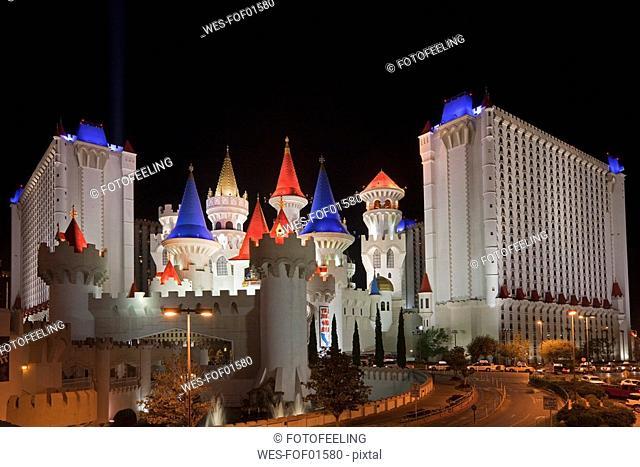 USA, Las Vegas, Excalibur hotel and casino at night