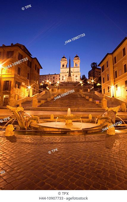 Europe, Italy, Rome, Piazza di Spagna, Spanish Steps, Trinita dei Monti Church, Fountain, Night View, Illumination, Tourism, Travel, Holiday, Vacation
