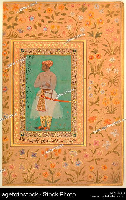 Portrait of Maharaja Bhim Kanwar, Folio from the Shah Jahan Album. Artist: Painting by Nanha; Calligrapher: Mir 'Ali Haravi (d. ca