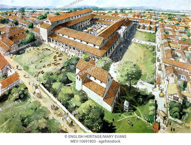 Silchester Roman City Walls, Hampshire. Reconstruction drawing of the Forum by Ivan Lapper