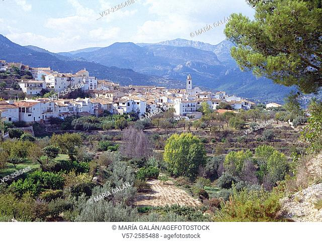 Overview and landscape. Benimantell, Alicante provnce, Comunidad Valenciana, Spain