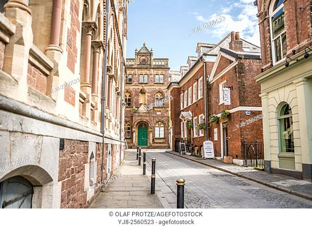 Gandler Street in the old town of Exeter, Devon, England, UK