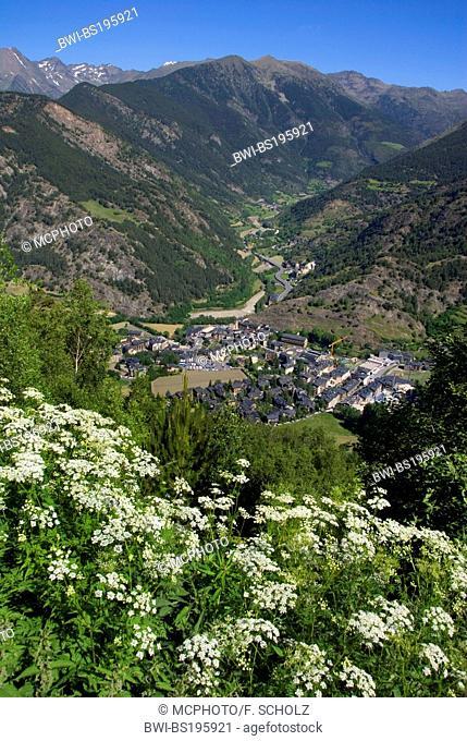 view onto mountain landscape and village Ordino, Andorra, Pyrenees, Ordino