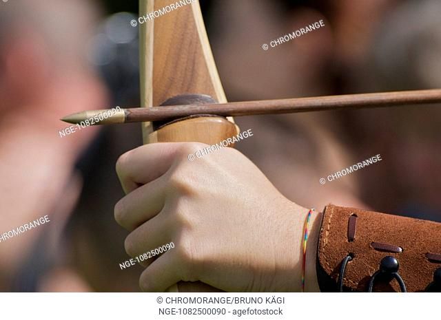 longbow with arrow previous to its release