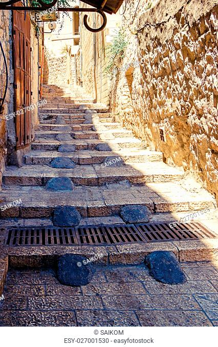 Israel, Jerusalem, stone streets Jerusalem ancient architecture. The tunnel with steps