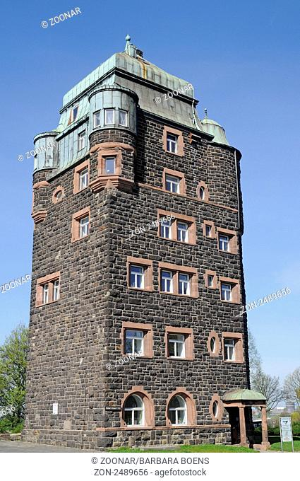 Historic bridge tower, Friedrich-Ebert-Bruecke bridge, Historischer Brueckenturm, Friedrich-Ebert-Bruecke, Duisburg-Ruhrort, Duisburg, Nordrhein-Westfalen