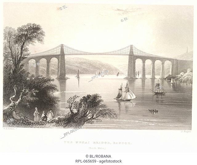 The Menai Bridge, 'The Menai Bridge, Bangor, North Wales'. The Menai Straits Bridge was designed by Thomas Telford and completed in 1825
