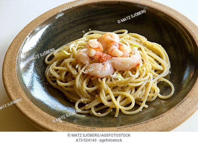 L'Albereta. Gualtiero Marchesi Restaurant. 'Spaghetti ai Gamberi Crudi e Germogli di Soia'. Erbusco, province of Brescia, in Lombardy
