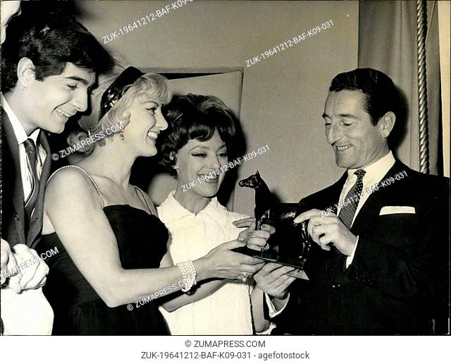Dec. 12, 1964 - Jonqueres D'Oriola Receives Trophy From Playwright For the opening of her new play 'The Riders', Gaby Bruyere, the author of the play