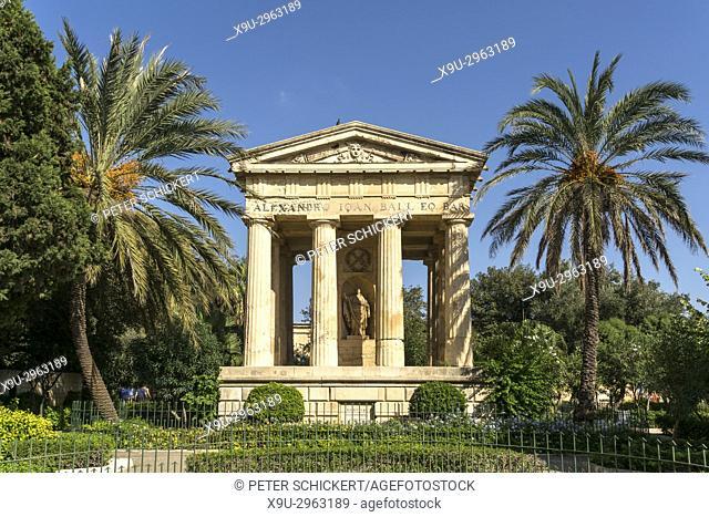 Alexander Ball monument, Lower Barrakka Gardens, Valletta, Malta