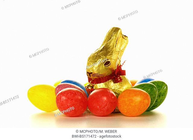 chocolate Easter bunny with coloured Easter eggs