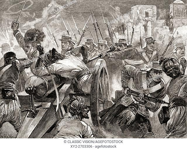 Soldiers under the command of Major General Sir Henry Havelock recapture the guns at Cawnpore from rebels during the Indian Mutiny of 1857