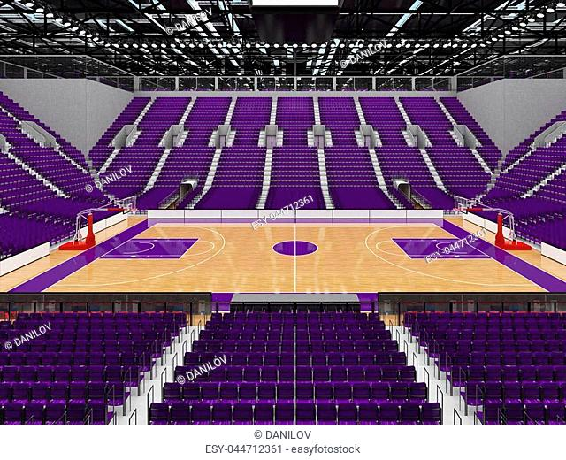 Beautiful sports arena for basketball with purple seats and VIP boxes