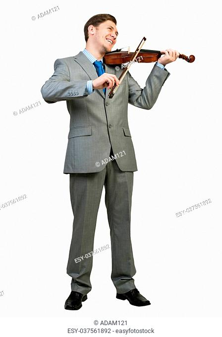 Young businessman isolated on white background playing violin