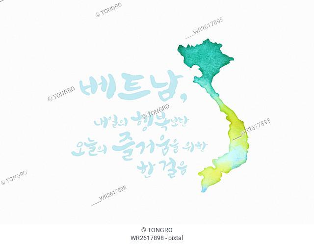 Calligraphic hangul message with map of Vietnam