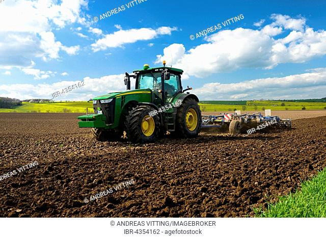 Tractor plowing field, Saxony-Anhalt, Germany