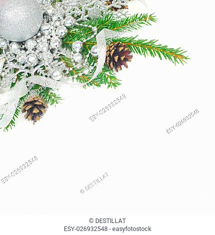 Beautiful Christmas decor and fir branches on snow woth white copy space