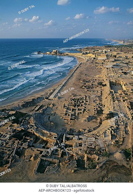 Aerial photograph of the ancient race course of Roman Caesarea
