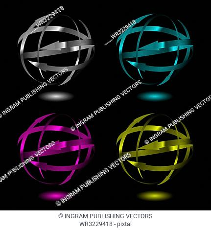 Collection of four metal arrow balls in varius color variations