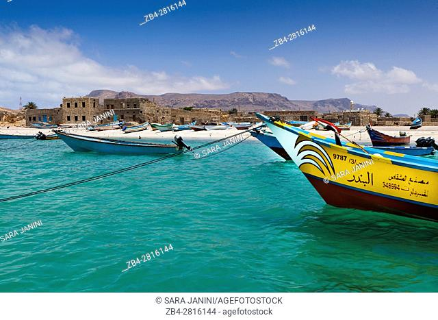 Fishboats, Qalansiyah beach, Socotra island, listed as World Heritage by UNESCO, Aden Governorate, Yemen, Arabia, West Asia
