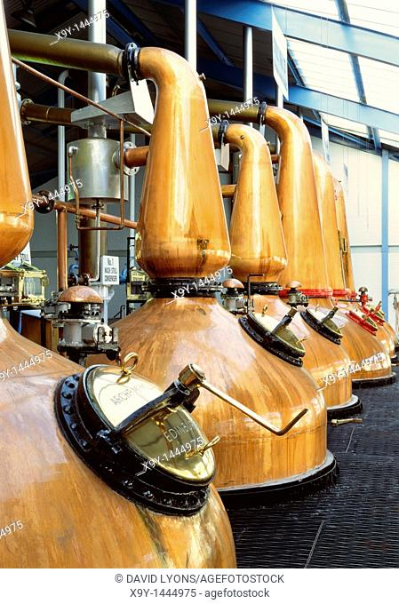 Laphroaig single malt whisky distillery, Isle of Islay, Scotland, UK  Traditional copper pot stills