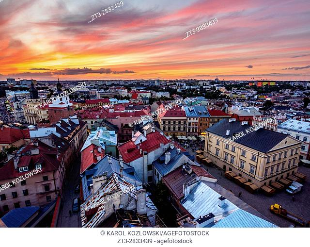 Poland, Lublin Voivodeship, City of Lublin, Old Town, Elevated view of the Market Square at sunset