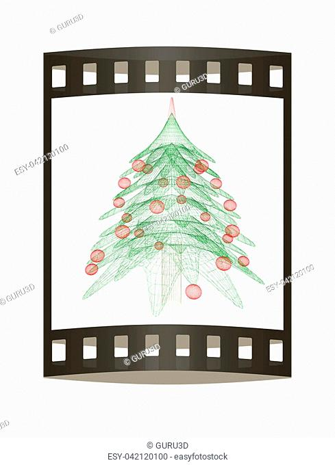 Christmas tree concept. 3d illustration. The film strip