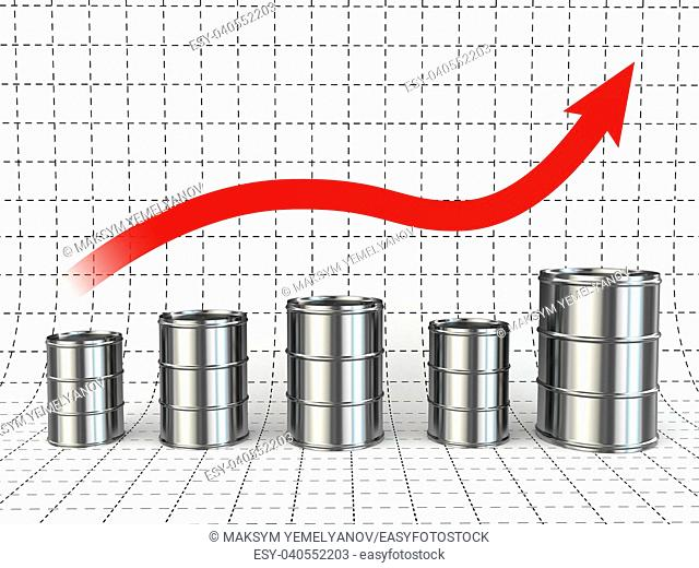 Growth of oil or petrol price. Barrels and graph. 3d