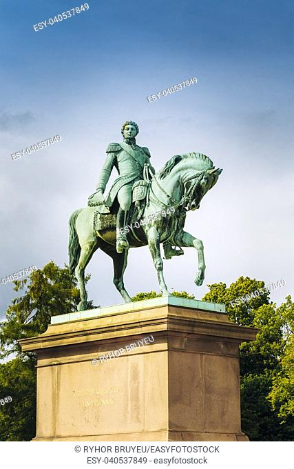 Statue of Norwegian King Karl Johan XIV in front the Royal Palace, Oslo, Norway