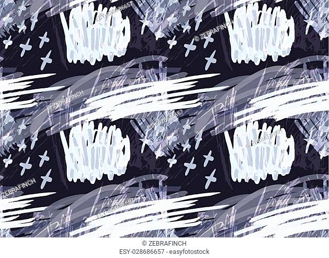 Marker hatched with crosses blue.Abstract hand drawn with ink and marker brush seamless background.Textured pattern