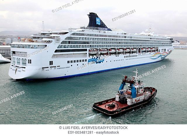 NCL cruise ship entering the port of Civitavecchia, Rome, Italy