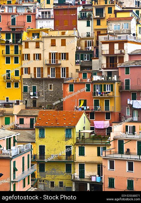 Colourful texture of Manarola village of Cinque Terre - Italy