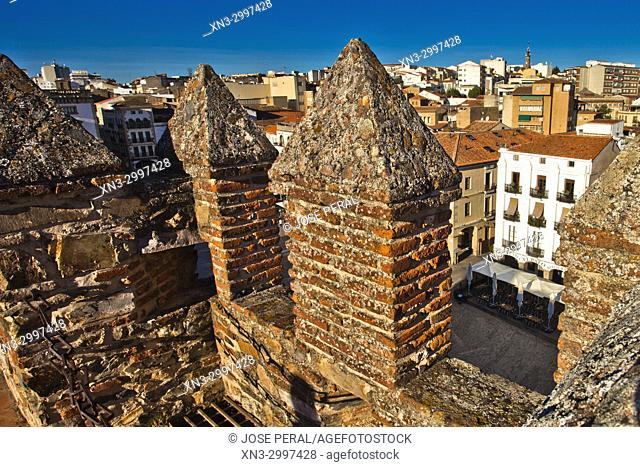 The battlements of Bujaco Tower, Main square, Plaza Mayor, Old Town of Cáceres, medieval town, World Heritage City by UNESCO, Caceres City, Cáceres Province