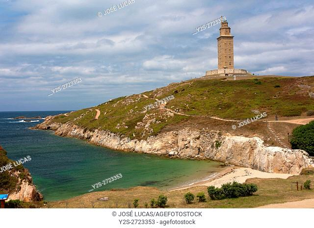 Tower of Hercules - ancient roman lighthouse (first century), La Coruña, Region of Galicia, Spain, Europe