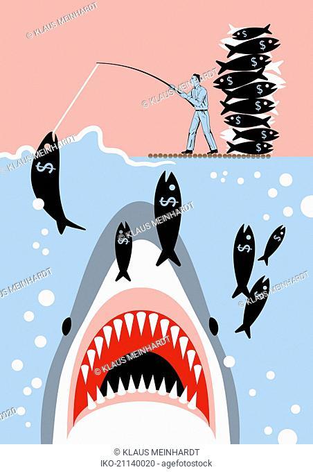 Businessman catching dollar sign fish unaware of shark