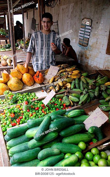 Vegetables on stall in Farmers Market in Havana