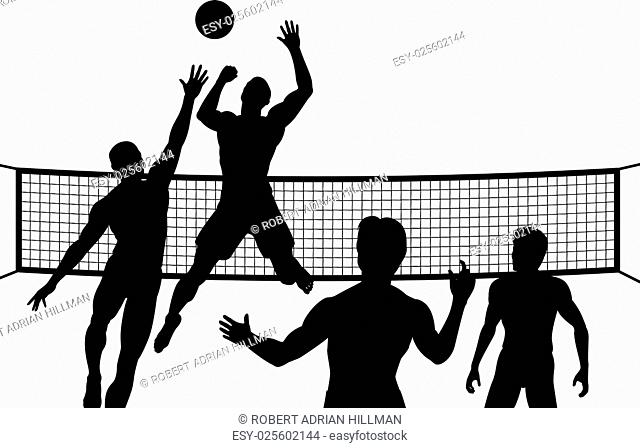 Editable vector silhouettes of four men playing beach volleyball with all elements as separate objects
