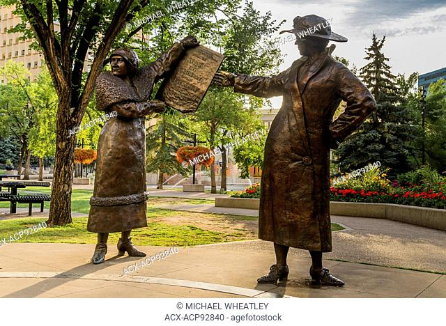 The Famous Five statue aka the 'Women are Persons' monument sculpted by Barbara Paterson. Calgary, Alberta, Canada
