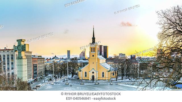 Tallinn, Estonia. Panorama Of Church Of St. John Jaani Kirik At Sunrise Time. Large Lutheran Parish Church In Tallinn Dedicated To St