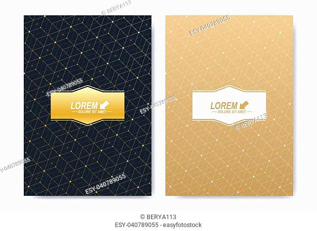 Modern vector template for brochure, Leaflet, flyer, cover, booklet, magazine or annual report. A4 size. Abstract golden presentation book layout