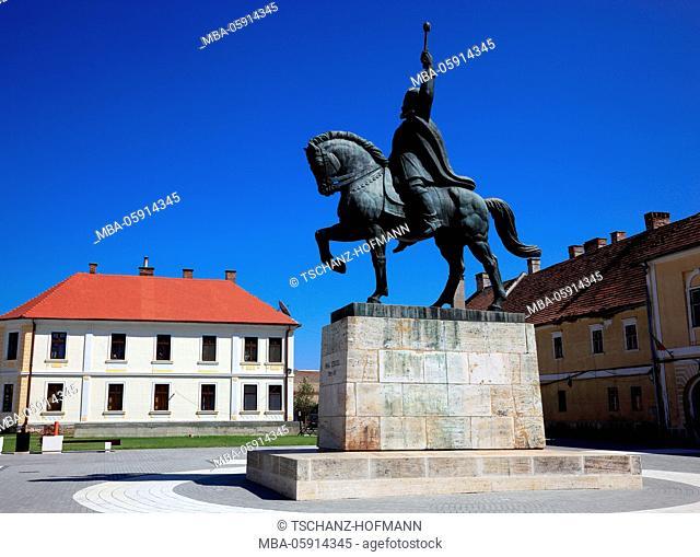 Equestrian statue of Mihai Viteazul, Michael the courageous, national hero in the historical fortress, alba lulia, Balgrad, in German Karlsburg