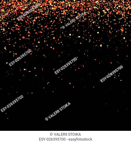 Red Confetti Isolated on Black Background. Abstract Red Parts