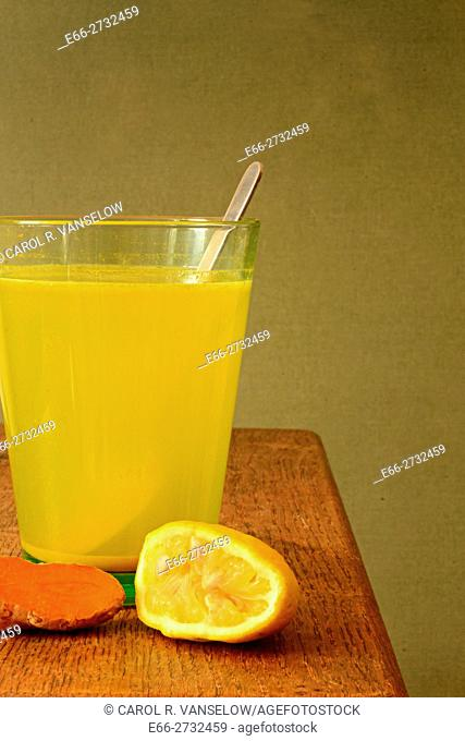 Morning elixir - lemonade with turmeric. Helps to elimnate toxins from the body