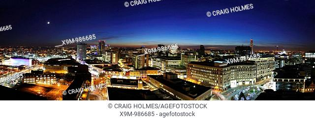 Aerial view of Birmingham, UK at night  Panoramic cityscape  Copyright Craig Holmes, not for usage without permission  01952 603038 craig@imagesofbirmingham co...