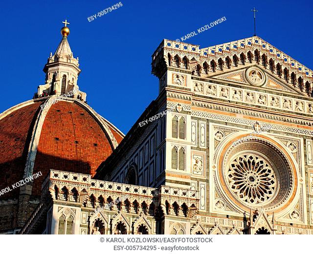 Detail of Basilica Santa Maria di Fiore in Florence, Tuscany, Italy