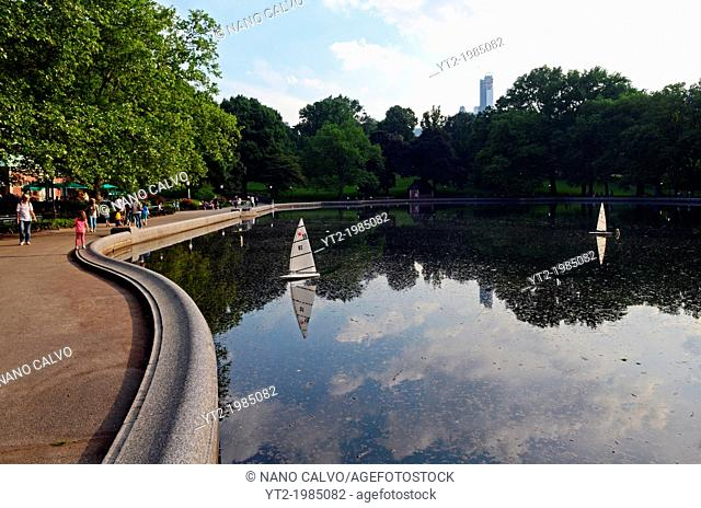 Model sailboats in Conservatory Water lake, Central Park, New York City